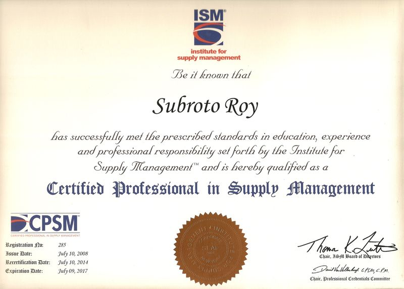 Subroto Roy CPSM Certification to 2017